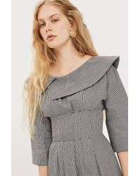 TOPSHOP - Gray Off The Shoulder Checked Midi Dress - Lyst