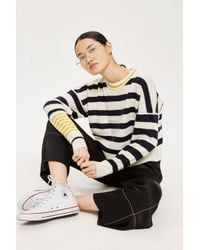 TOPSHOP - White Slouchy Stripe Sweater - Lyst