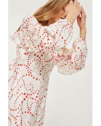 TOPSHOP - White Petite Heart Print Jacquard Tea Dress - Lyst