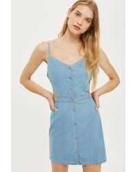 TOPSHOP Blue Moto Cut Out Denim Shift Dress