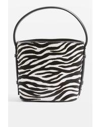 9349c3e6921ae Lyst - Topshop Samira Zebra Bucket Bag in Pink