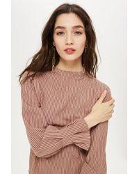TOPSHOP - Pink Stripe Tuck Top - Lyst