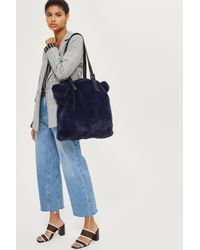 TOPSHOP - Blue Freddy Faux Fur Shopper Bag - Lyst