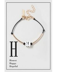 TOPSHOP - Black H Initial Bracelet - Lyst