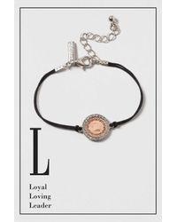 """TOPSHOP - Black """"l"""" Initial Bracelet - Lyst"""