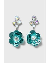 TOPSHOP | Blue Sequin Flower Earrings | Lyst