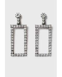 TOPSHOP - White Statement Rhinestone Rectangle Earrings - Lyst