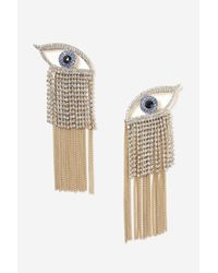 TOPSHOP | Metallic Rhinestone Eye Chandelier Earrings | Lyst