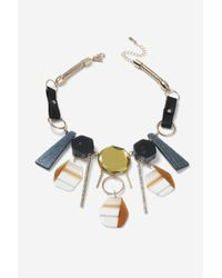 TOPSHOP - Blue Mixed Shape Collar Necklace - Lyst