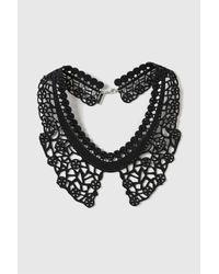 TOPSHOP - Black Laser Cut Rhinestone Collar Necklace - Lyst