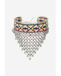 TOPSHOP | Metallic Statement Aztec Chain Choker Necklace | Lyst