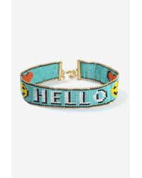 TOPSHOP - Blue Hello' Beaded Choker Necklace - Lyst