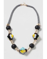 TOPSHOP - Black Abstract Tube Rope Necklace - Lyst