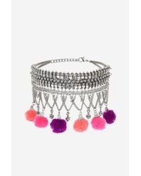 TOPSHOP - Multicolor Chain Tassel Choker Necklace - Lyst