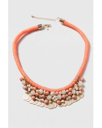 TOPSHOP - Red Rope And Coin Drop Collar Necklace - Lyst