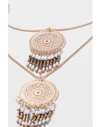 TOPSHOP - Metallic Filigree Disc Drop Multirow Necklace - Lyst