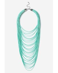 TOPSHOP - Green Multirow Cord Necklace - Lyst