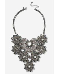 TOPSHOP - Brown Rhinestone Flower Collar Necklace - Lyst