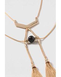 TOPSHOP - Metallic Tassel Linked Collar Necklace - Lyst