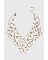 TOPSHOP | Metallic Fine Coin Drop Disk Collar Necklace | Lyst