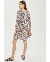 Glamorous - Blue Printed Skater Dress By - Lyst
