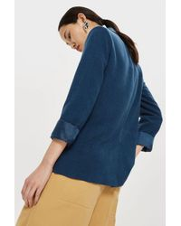 TOPSHOP - Blue Double Breasted Linen Blazer - Lyst