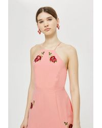 TOPSHOP - Pink Embroidered Midi Slip Dress - Lyst