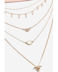 TOPSHOP - Pink Bolo Multirow Necklace - Lyst