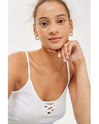 TOPSHOP - White Lotti Crop Top - Lyst