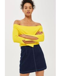 TOPSHOP - Blue Moto A-line Denim Skirt - Lyst
