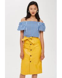 c57e002fffcbcc Lyst - Topshop Gingham Bardot Top in Blue