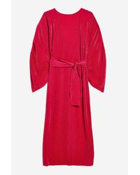 TOPSHOP - Red Ovoid Plisse Midi Dress - Lyst