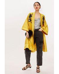 TOPSHOP - Metallic Tall Embroidered Kimono - Lyst