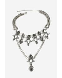 TOPSHOP - Gray Tear Drape Collar Necklace - Lyst