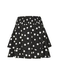 TOPSHOP - Black Shirred Tiered Spotted Skirt - Lyst