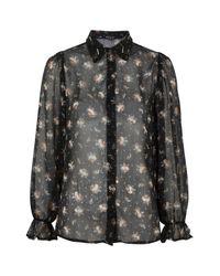 TOPSHOP - Black Bead Collar Ditsy Shirt - Lyst
