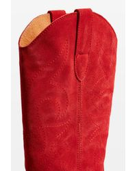 TOPSHOP - Red Devious Western Boots - Lyst
