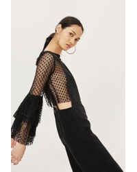 TOPSHOP - Black Moto Strappy Dungarees - Lyst