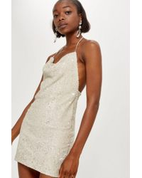 8ebdbf6448c TOPSHOP Brushed Sequin Cowl Neck Dress in Metallic - Lyst