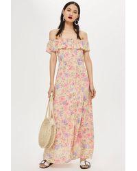 TOPSHOP - Pink Tall Floral Bardot Maxi Dress - Lyst