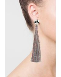 TOPSHOP - Pink Metallic Tassel Drop Earrings - Lyst