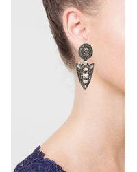 TOPSHOP - Brown Rhinestone Shield Drop Earrings - Lyst