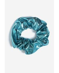 TOPSHOP - Blue Metallic Hair Scrunchie - Lyst