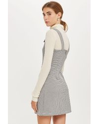 TOPSHOP - Black Gingham Embroidered Pinafore Dress - Lyst