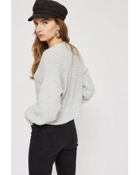 TOPSHOP - Gray Petite Curved Hem Cropped Jumper - Lyst