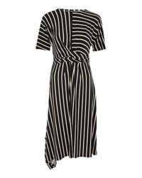 TOPSHOP - Black Striped Drape Midi Dress - Lyst