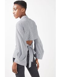 TOPSHOP - Gray Extreme Cuff Tie Back Shirt - Lyst