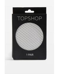 TOPSHOP - Gray Medium Fishnet Tights - Lyst