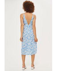 TOPSHOP - Blue Cornflower Print Cut Out Slip Dress - Lyst
