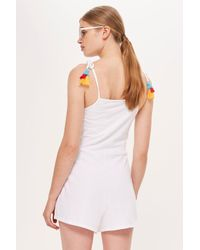 TOPSHOP - White Embroidered Jersey Playsuit - Lyst